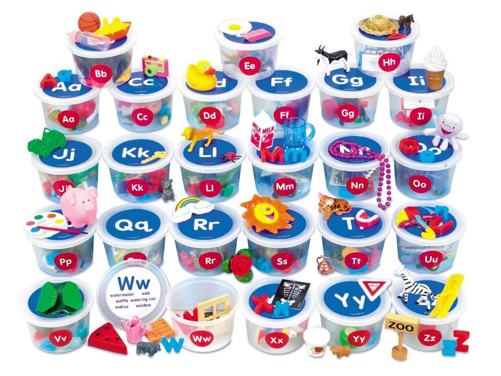 Alphabet Toys - Alphabet sound tubs - teaching alphabet